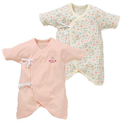 西松屋 [EFD] 2枚組コンビ肌着(ゆるアニマル) 【新生児50-60cm】 ピンク,コンビ肌着,