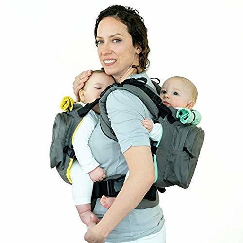 TwinGo Carrier ツインゴー 双子 年子 抱っこ紐 新生児から 6WAY 日本語説明書付き 1年保証 (グレー(グリーン×イエロー))【国内正規輸入代理店品】,双子,グッズ,