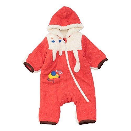 (プチジャム)Petitjam ねこさんとねずみさんのジャンプスーツ防寒/カバーオール 90 レッド,カバーオール,ベビー,