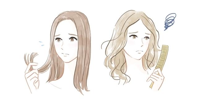 髪の質感変化を感じる女性,シャンプー,ヘアケア,産後