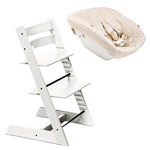 ストッケ トリップトラップ 新生児セット チェア:ホワイト + ニューボーンセット + テキスタイル:ベージュチェック 【3個口】,離乳食,椅子,