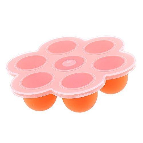 Lovoski 安全シリコン ベビー フードコンテナ トレイ 離乳食保存 冷凍保存皿 製氷皿 小分け 全6色 - オレンジ,離乳食,冷凍,容器