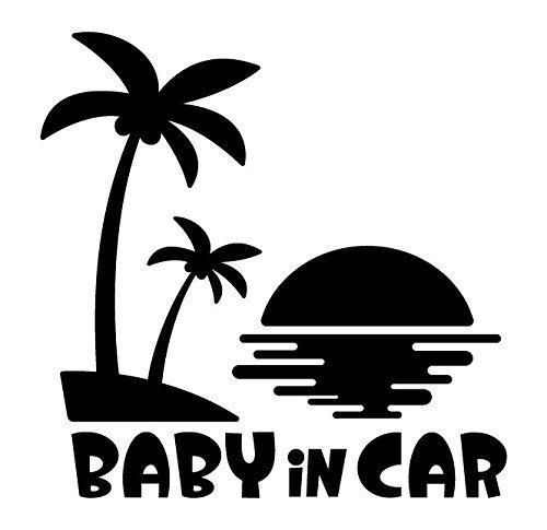 Sticker Shop Haru BABY IN CAR ステッカー ハワイ サンセット ブラック,ベビーインカー,ステッカー,