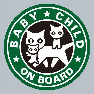 BABY / CHILD ネコ親子緑色 ステッカー,ベビーインカー,ステッカー,