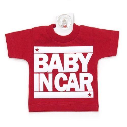 BABY IN CAR(ベビーインカー)ミニTシャツセーフティーサイン (でかロゴ:レッド×ホワイト) 【プチアンジュオリジナル】,ベビーインカー,ステッカー,