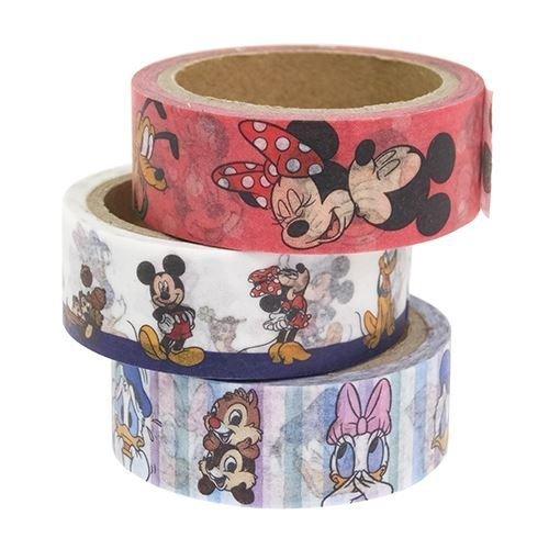 ミッキー&フレンズ[マスキングテープ]和紙デコテープ3巻セット/フェイスアップ ディズニー,手作り,スマホケース,