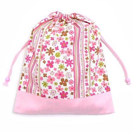 お着替えラクラク巾着(大サイズ)・体操服袋 スカンジナビアのフラワーパーク(ピンク) × オックス・ピンク 日本製 N3361100,着替え,袋,