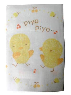 表パイル裏ガーゼ正方形バスタオル 100×100cm PIYOPIYO柄,赤ちゃん,バスタオル,おすすめ