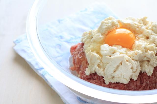 豆腐ハンバーグの材料,離乳食,豆腐ハンバーグ,