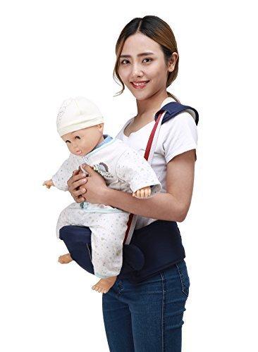 Zaitun ベビー 抱っこひも ウエストキャリー ヒップシート 肩ストラップ付き ベビーキャリーア 赤ちゃん 調整可 軽量 パッド入り 腰負担軽減 メッシュ 素材 4way(新生児~3歳まで) (ダークブルー),ヒップシート,