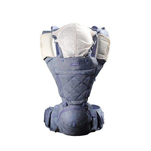 【ベビーアムール】Bebamour 抱っこ紐人気 ベビーキャリアー 新生児 6way アルミニウム製支柱 たためるヒップシート 最上級のコンフォート 素敵な色 (パープル),ヒップシート,