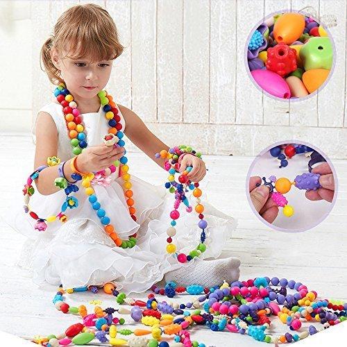 Wishtime 女の子のおもちゃシリーズ ビーズ アクセサリー ハンドメイドセット 180ピース,4歳,誕生日プレゼント,