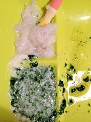 ある日の離乳食中期!シラス粥とほうれん草ヨーグルト,離乳食,ヨーグルト,