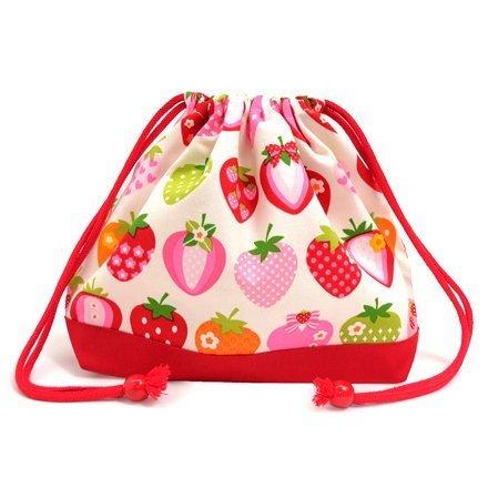 ごきげんランチの巾着(中サイズ)・マチ付お弁当袋 スイートストロベリーコレクション(アイボリー)×オックス・赤 日本製 N3474500,お弁当袋,作り方,