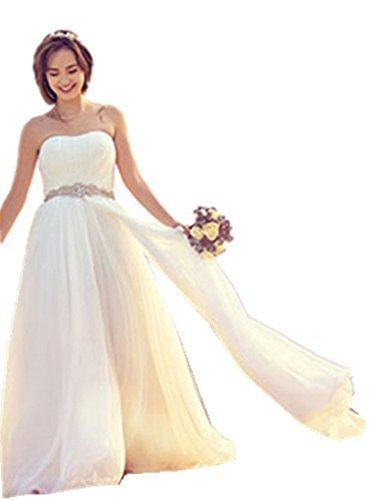 ホワイト L ブライダル ウェディングドレス & フラワーヘアアクセサリー のセット商品 ベアトップ ふんわり ナチュラル シフォン 体型カバー 妊婦,マタニティフォト,衣装,