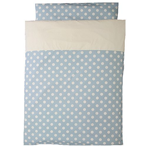 洗えるお昼寝布団 5点セット 日本製 ポルカドット 園児用敷布団 ブラウンバッグ (スカイブルー),保育園,布団セット,おすすめ