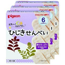ピジョン ベビーおやつ 元気アップカルシウム ひじきせんべい 3箱セット(1箱6袋入り),離乳食,鉄分,