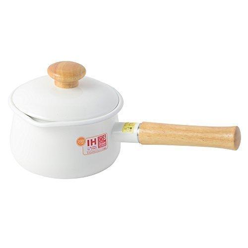 富士ホーロー 蓋付きミルクパン 15cm 1.2L ホワイト,離乳食,食パン,