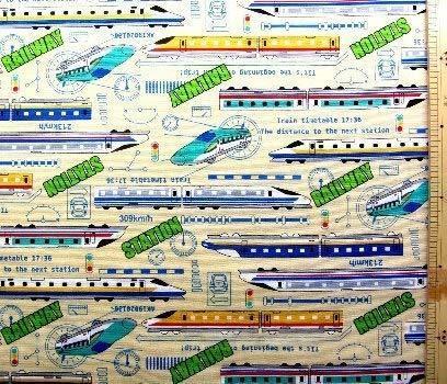 プリント生地・スーパー・エクスプレス(クリーム)#2 (乗り物 電車 新幹線 JR かわいい おしゃれ 男の子 女の子 子供 入園 入学 ピロル),ランチマット,手作り,