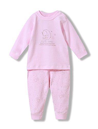 ベビー服 iTimes 子ども肌着 綿100% ナイトウェア 優れた通気性 肩開きセット (73cm, ピンク),ベビーパジャマ,
