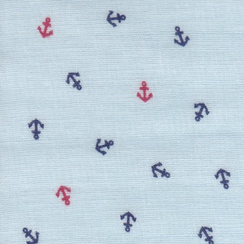【綿二重ガーゼ・ダブルガーゼプリント】お船のイカリ 4色あります 1m単位で切り売りいたします (サックスブルー),手作り,マスク,