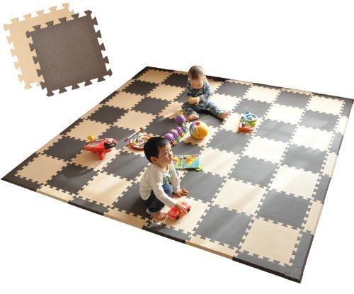 エムール EVAマット 81枚セット 225×225cm 約4.5畳 ミックスブラウン,赤ちゃん,ジョイントマット,