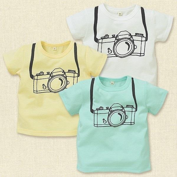 手書き風カメラプリント半袖Tシャツ,西松屋,子供服,