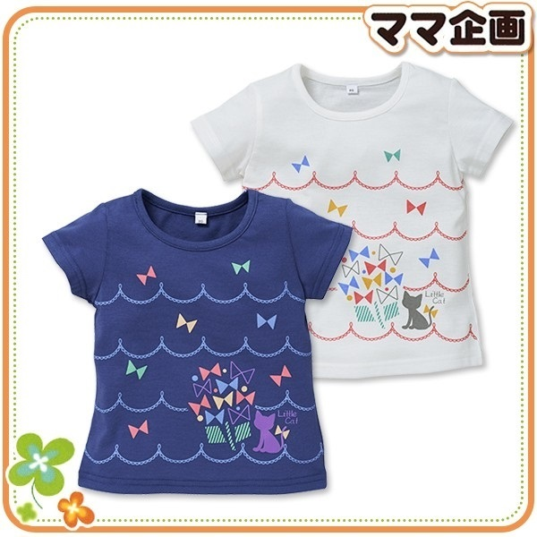 ねこ&リボンプリント半袖Tシャツ,西松屋,子供服,