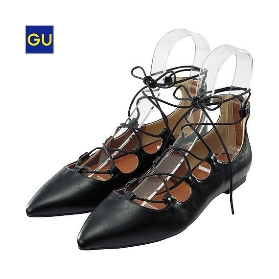 レースアップフラットパンプス,GU,靴,
