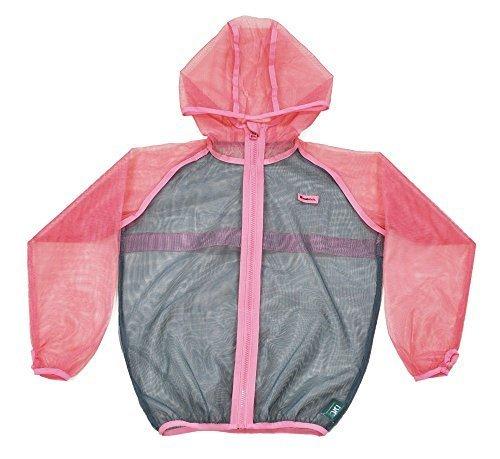 MOTHKEEHI/ 蚊の嫌がる忌避成分を使用した「着る蚊帳(かや)」防虫メッシュパーカー /肌に触れにくいゆったりシルエット (Pink, キッズM),子ども,虫よけ,