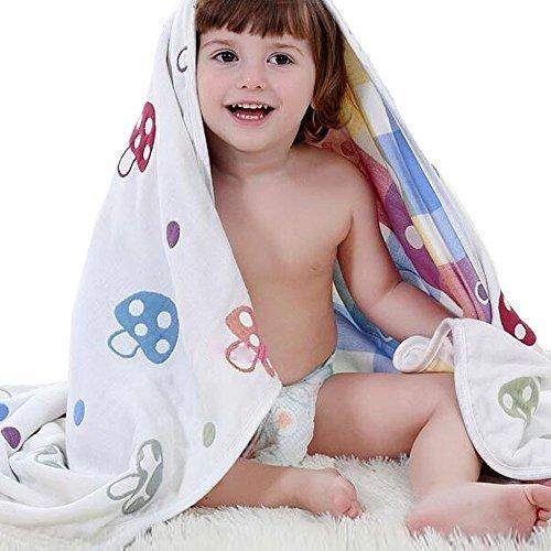 global I mall kid 6重ガーゼ ベビーケット ふわふわガーゼタオル 子供バスタオル キッズ用ブランケット 毛布 通気性が良い 110×115cm,出産祝い,ガーゼタオル,