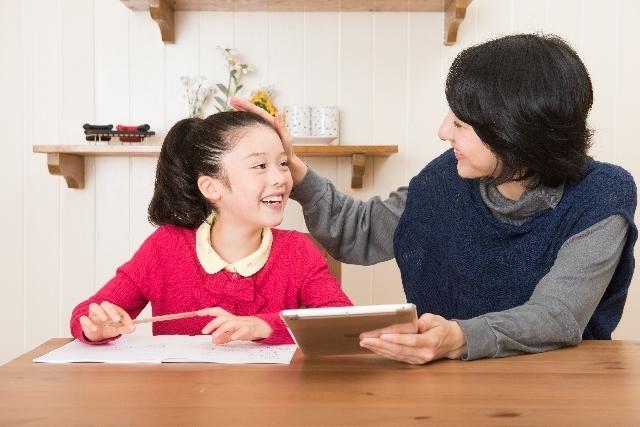 勉強をする親子,学習,ポスター,