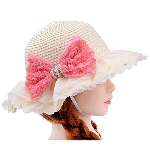 VBIGER キッズ 麦わら帽子 子供 サマーハット 女の子 つば広 春夏 通学 旅行 サンバイザー 日よけ帽子 (ベージュ),キッズ,子供,麦わら帽子