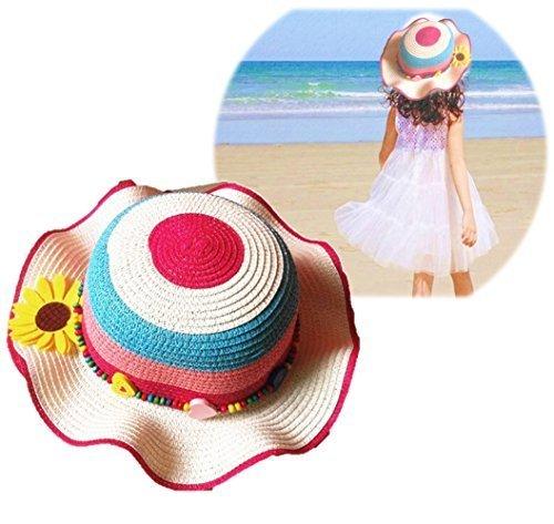 (cocokara) 麦わら帽子 ストローハット 子供 サマーハット 花 紫外線 つば広 あご紐付き 女の子 (ピンク×ブルー),キッズ,子供,麦わら帽子