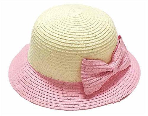 【Kan Sei+】親子 折りたたみ可 麦わら リボン付き 帽子 女の子 キッズ お出かけの必需品! つばが下向きのシルエットで上品なコーディネートに仕上がる/Kan Sei+タグ付き正規品(子供, 淡いピンク),キッズ,子供,麦わら帽子