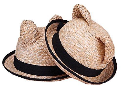 【ノーブランド品】 かわいい お出かけ用 麦わら 帽子 子供 ねこみみ 男の子 女の子 52cm <CX-101>,キッズ,子供,麦わら帽子
