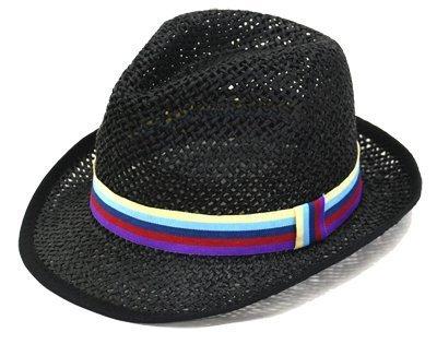キッズ ペーパー 中折れ ハット 麦わら帽子 子供 帽子 ブラック 48cm,キッズ,子供,麦わら帽子