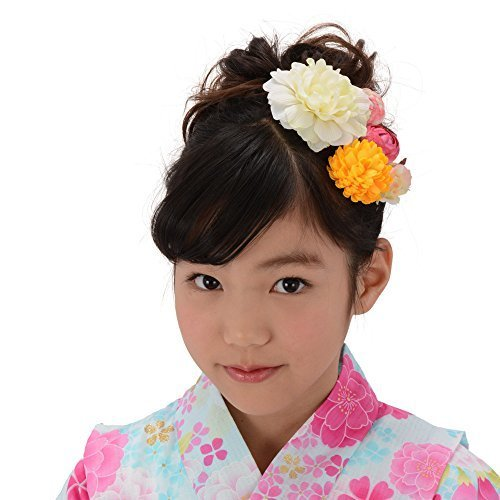 髪飾り Uピン・コーム5点セット 花に蕾 オフ白,女の子,浴衣,人気