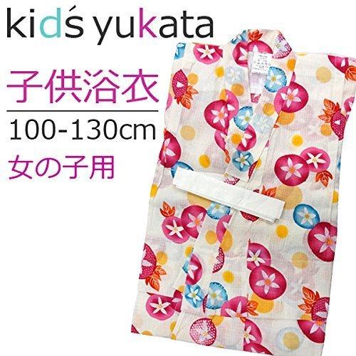 [浴衣 子供] 女の子用(100cm~130cm) クリーム:あさがお (110cm),女の子,浴衣,人気