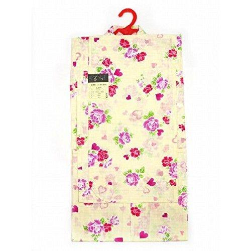 女の子浴衣 変り織りの子供ゆかた 110サイズ「黄色、薔薇とハート」TGY11-501,女の子,浴衣,人気