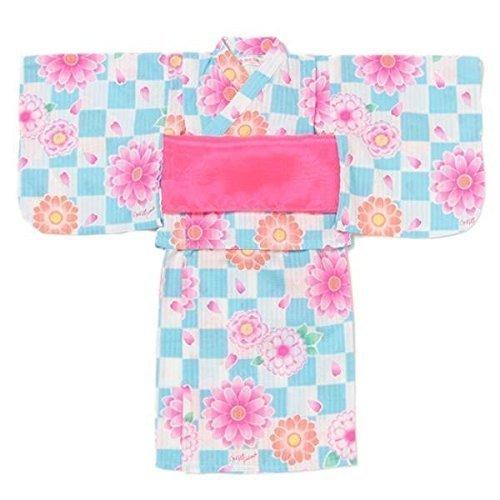 市松花柄浴衣 ブルー 100,女の子,浴衣,人気