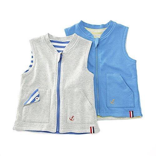 【アウトレット】La Chiave リバーシブルベスト(80~130cm)キムラタンの子供服 ブルー 110 (53275x53475-151a),キッズ,ベスト,