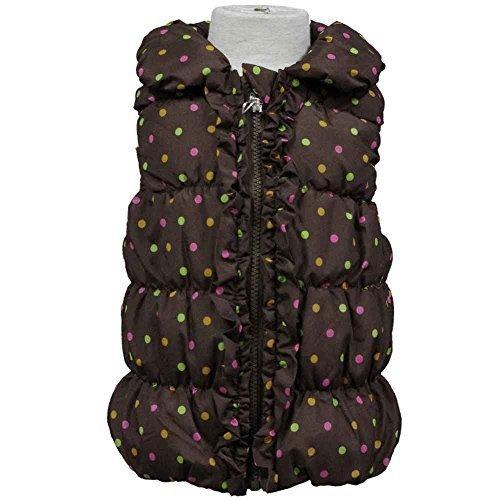 ガールズキッズジャンパー コート[Cute Paradise(キュートパラダイス)]女の子 女児 子供用中綿入りドット柄ベストジャンパー120cm ブラウン,キッズ,ベスト,