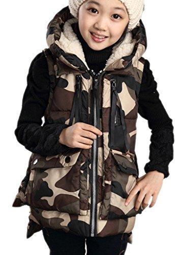 (ラボーグ) La vogue カジュアル ベビー服 女の子ダウンベスト ガールズジャケット 子どもコート フード付き 迷彩柄 ダウンチョッキ 子供服 男の子上着 新生児 冬着防寒 コーヒー色 150サイズ,キッズ,ベスト,
