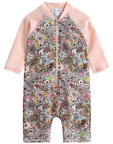 [Vaenait Baby] 0-24ヶ月紫外線カット ラッシュガードベービー子供女の子長袖ワンピース水着 Baby Floral S,女の子,子供水着,