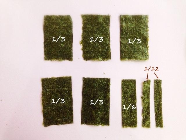 海苔の分割,飾り,巻き寿司,巻き方