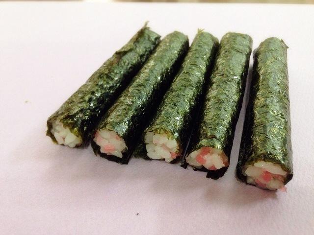 細巻き5本,飾り,巻き寿司,巻き方