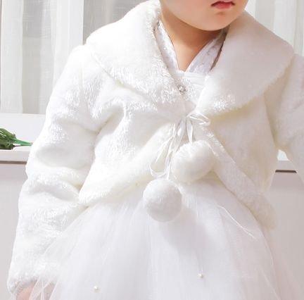 【Peach Kids】 子供フォーマル フェイクファーボレロ ≪ティアラセット≫ ショール ケープ 女の子 発表会 結婚式 白ホワイト (90cm(XS)),キッズ,ボレロ,