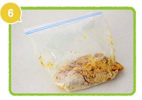 鶏肉に下味をつけ、油であげる,レシピ,いなり,弁当