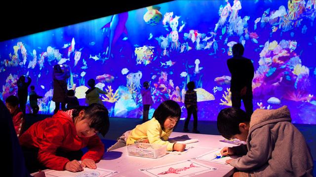「チームラボアイランド」の「お絵かき水族館」,埼玉 ,室内遊園地,チームラボ